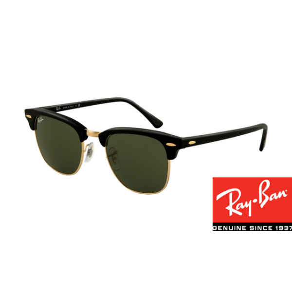 c67f7ce2b4a Fake Ray-Ban RB3016 Clubmaster Sunglasses Ebony Arista Frame Green ...