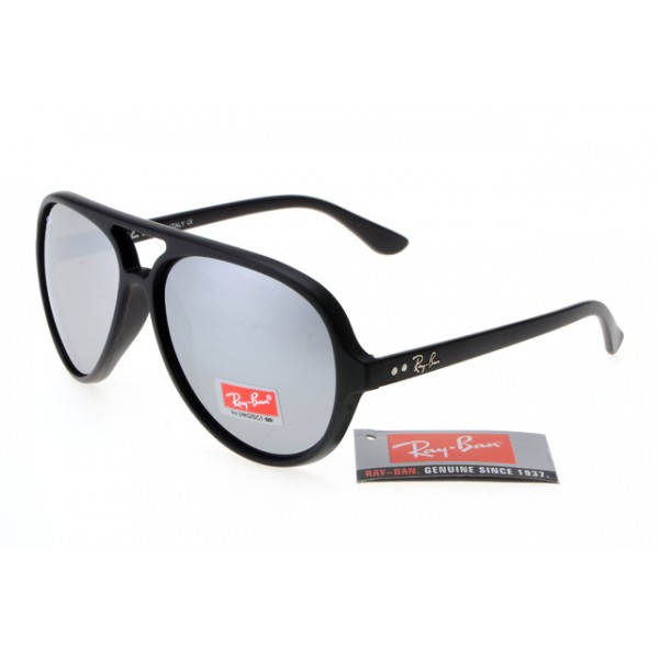 4de3d10831a Fake Ray-Ban RB4125 Cats 5000 Sunglasses Matte Black Frame Silver ...